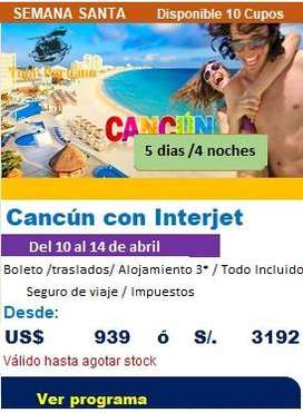 Costo de viaje en pareja a Cancún en fiestas patrias 2020