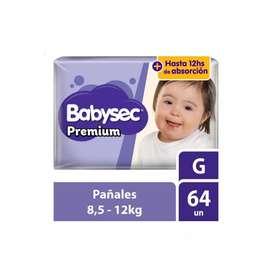 Pañales para Bebé Babysec Premium Talla G Paquete 64 unid
