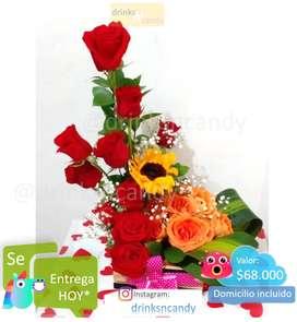 Ramos de flores, ECONOMICOS con dulces, peluches y más