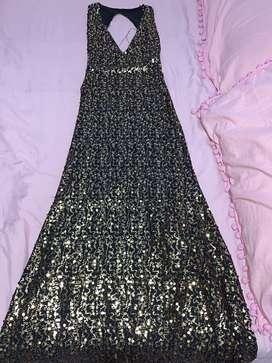 Vestido de noche/grado negro con lentejuelas