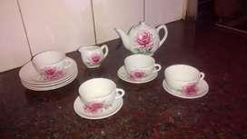 juego de té de muñecas antiguo de porcelana