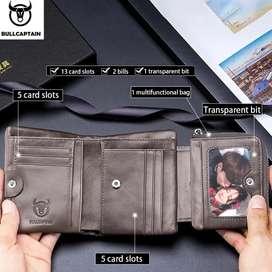 Tienda Física. Billeteras de cuero para hombre de 3 cuerpos en cuero Natural DISEÑOS exclusivos Morral bolso