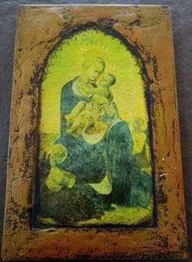 Cuadro Virgen y el Niño. Antigüedad Muy interesante. madera 26 x 36 cm