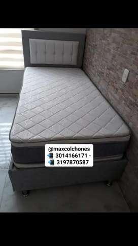 Base cama + colchón semiortopedico + cabecero