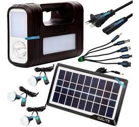 Panel Kit Solar Portatil 3bombillas Linterna Usb + obsequio
