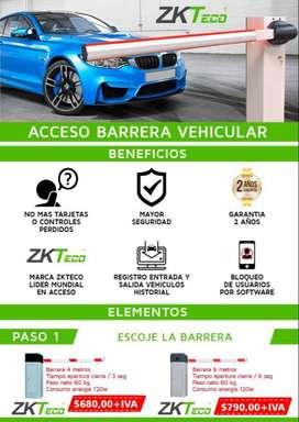 Barreras vehiculares vallas para autos acceso con sticker tag acceso vehicular acceso con huella tarjeta Quito Ecuador