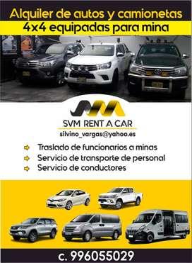 ALQUILER DE AUTOS Y CAMIONETAS 4X4 EQUIPADAS PARA MINA