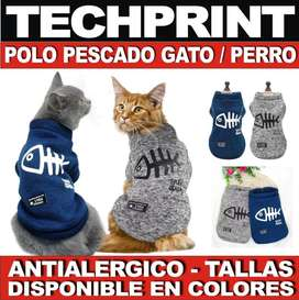 Polera Modelo Pescado Ideal Gatos / Perros Tallas Disponibles