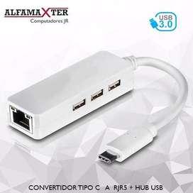 CONVERTIDOR TIPO C A RJ45 + HUB USB