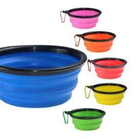 Plato Bowl plegable Silicona para mascotas agua Portable