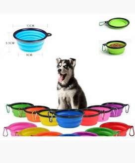 Comedero mascotas portátil plegable silicona