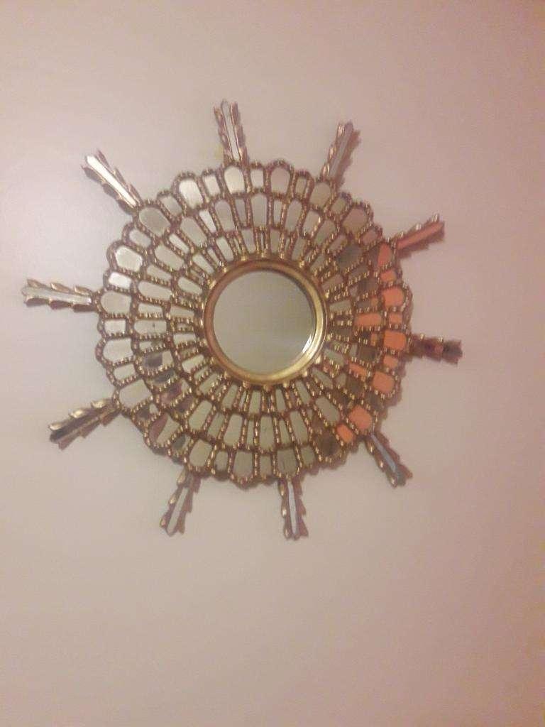 Espejo Sol Antiguo Tallado Madera Caoba 0