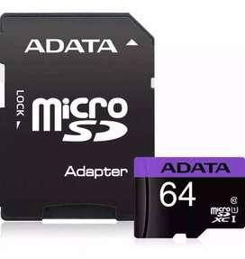Memoria Micro Sd 64gb Adata + Adaptador 50mb/s Original