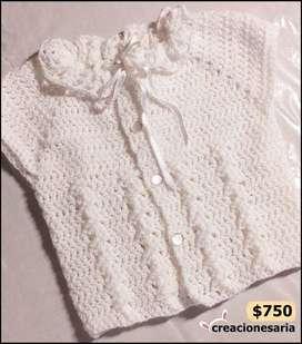 Chaleco tejido antialérgico para bebés -creacionesaria