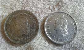 Moneda Argentina De 1 Peso De Los Años 1959 y 1962