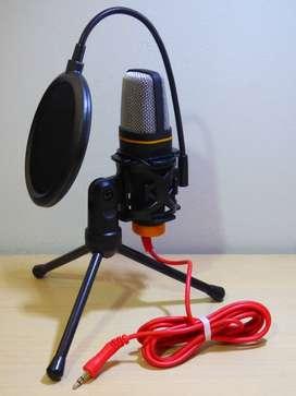 Microfono Condensador Con Filtro Antipop Youtube Celular Pc