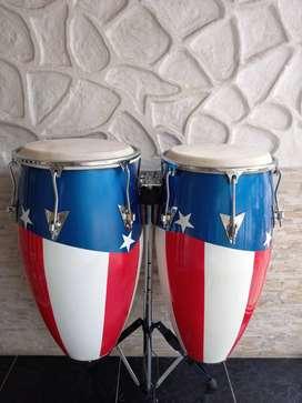 Congas en fibra cobra percussion bandera de puerto rico.
