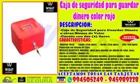 Caja de seguridad para guardar dinero color rojo