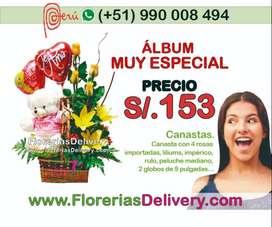 Canasta con 4 rosas importadas, liliums, imperico, rulo, peluche mediano y 2 globos de 9 pulgadasCódigo: OLX M C.N.-0001