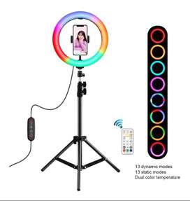 Aro de luz multicolor con mas de 7 funciones diferentes, toma tus fotos y videos con libertad