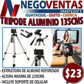 TRIPODE ALUMINIO DE 135CMS EN DESCUENTO EXCLUSIVO ÚNICAMENTE AQUÍ EN NEGOVENTAS LOS MEJORES PRECIOS DEL MERCADO