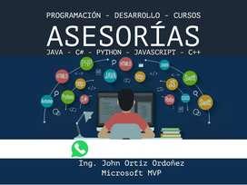 Clases Asesorías Cursos Programación Desarrollo Java HTML JS Bases Datos Python C Apps CCNA Universitarios