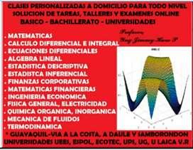 TUTORIAS A PARTICULARES DE ESTADISTICA, ESTADISTICA COMPUTARIZADA, MATEMATICAS FINANCIERAS, ING ECONOMICA, CALCULO