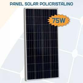 Panel Solar Policristalino 75w │ 36 Celdas │12V Clase A