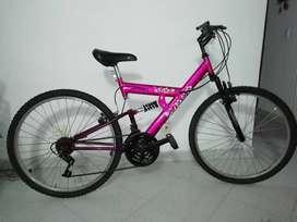 Bicicleta Morada con Rosado