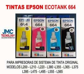 Tinta Ecotank Epson 664 Kit 4 Colores