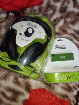 Auriculares klip extreme +  USB HUB Concentrador 2.0
