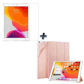 Kit Cristal Vidrio Templado Screen Protector y Forro Estuche Case en Silicona para Tablet iPad 7 Generación 10.2