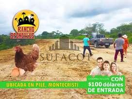 TERRENOS EN VENTA EN PILE MONTECRISTI MANABÍ, CON SOLO 100 USD DE ENTRADA FIRMAS CONTRATO, PODRAS SEMBRAR, TUS ANIMALES1