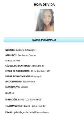 Gabriela Zambrano Quinto // Necesito empleo