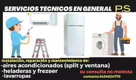 Aire acondicionado, heladera y lavarropas