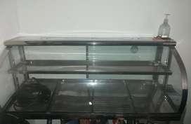 Vitrina calefacción vidrio curvo