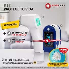 TERMÓMETRO + OXIMETRO Contec + Gratis Delivery + Protector facial