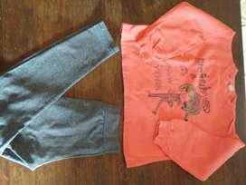 Pullover más calza para niña de 4 años.