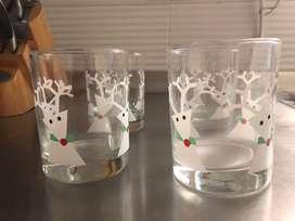 Vasos de vidrio Navidad Reno