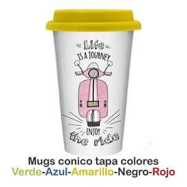 Mugs Conico Tapa Silicona de Color