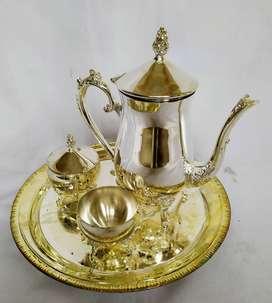 set de café silver plated incluye: tetera  azucarera  cremera  bandeja