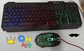 3 EN 1 GAMER PARA PC DIADEMA+MOUSE+TECLADO RGB URBAN CABLE CONEXIÓN USB