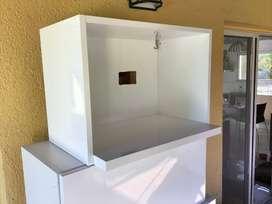 Alacenas Estante Para Microondas Laqueado Blanca