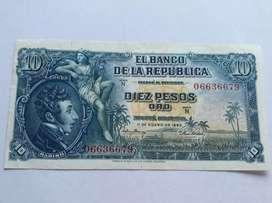 Billete de 10 pesos colombiano  de 1.953