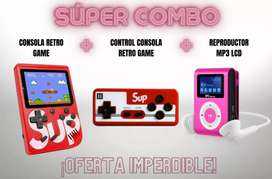 Super Combo Mini Consola GameBoy Retro + Control + Reproductor MP3 LCD
