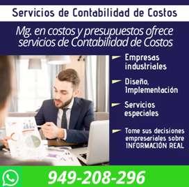 Contador de costos Servicio de contabilidad Asesor de costos Costos Industriales Contabilidad de costos