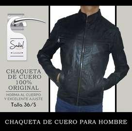 Chompa De Cuero Hombre 100% Original, Tallas 36 /s Entallada
