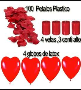Petalos Rojo100un4velas4globos Corazon