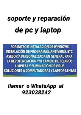 Soporte  y repacion de computadoras  y laptops
