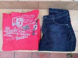 (CASEROS) Lote de pantalon jeans hombreT 38 y buzo con capucha T M